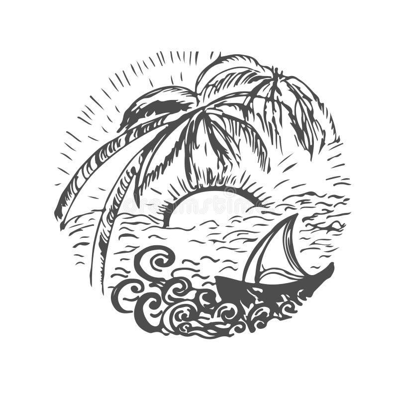 Bosquejo dibujado mano del viaje para el diseño Viaje de la aventura libre illustration