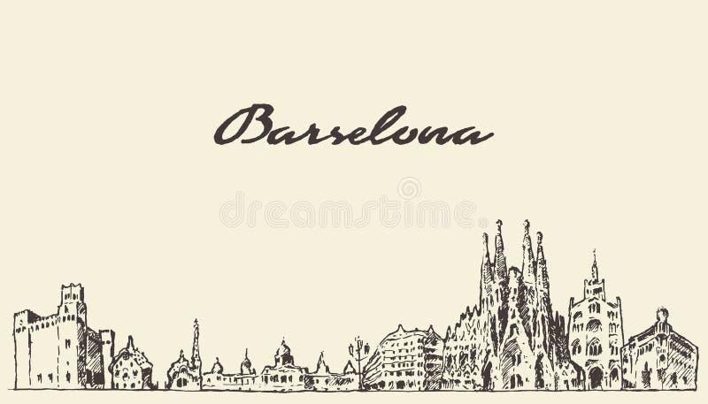 Bosquejo dibujado mano del vintage de Barcelona España ilustración del vector