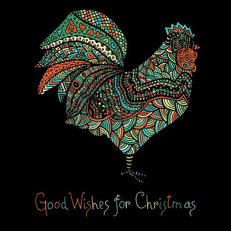 Bosquejo dibujado mano en la forma de un gallo libre illustration