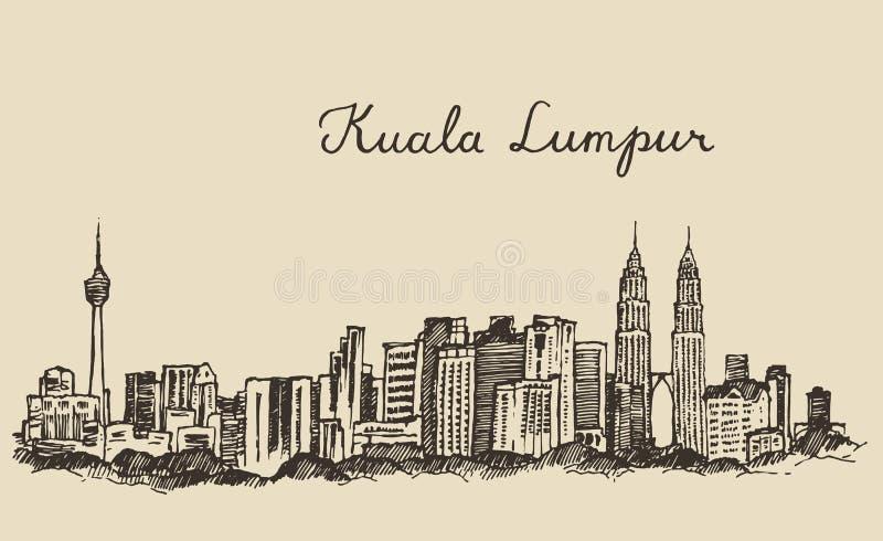 Bosquejo dibujado mano grabado horizonte de Kuala Lumpur ilustración del vector