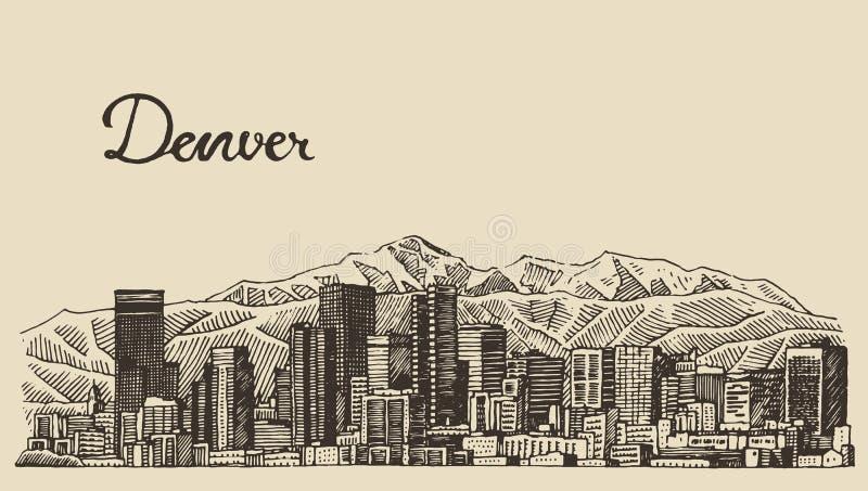 Bosquejo dibujado mano grabado horizonte del vector de Denver stock de ilustración