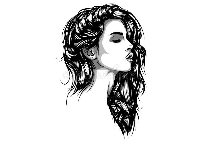Bosquejo dibujado mano hermosa del ejemplo del vector de la cara de la mujer stock de ilustración