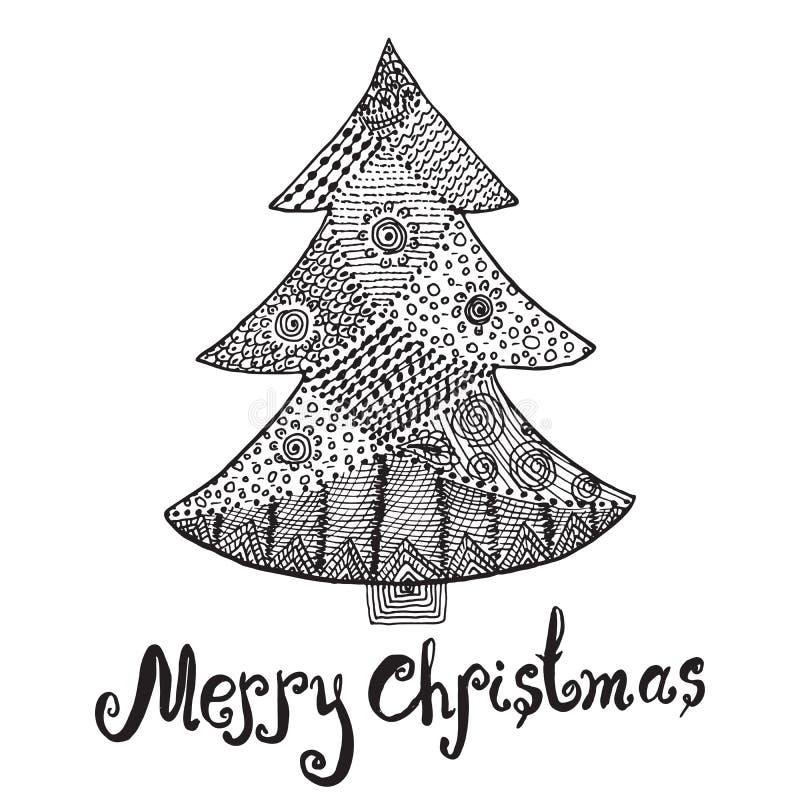 Bosquejo Dibujado Mano Ornamental Del rbol De Navidad En Estilo Del