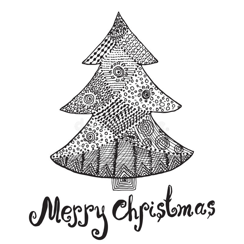 Bosquejo dibujado mano ornamental del árbol de navidad en estilo del zentangle vector el ejemplo con el ornamento y las letras, a stock de ilustración
