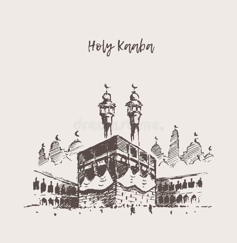 Bosquejo dibujado musulmanes santos de Kaaba Mecca Saudi Arabia libre illustration