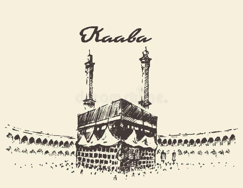 Bosquejo dibujado musulmanes santos de Kaaba Mecca Saudi Arabia stock de ilustración