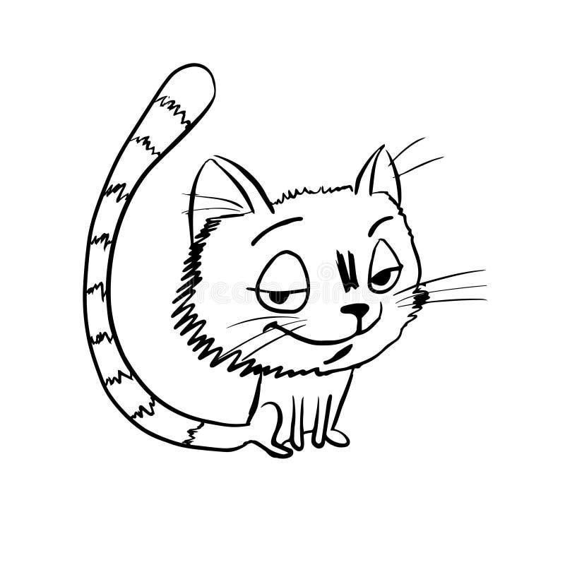 Bosquejo difícil del gato stock de ilustración