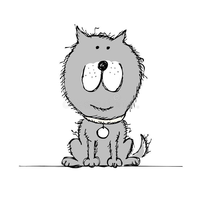 Bosquejo divertido del perro para su diseño stock de ilustración