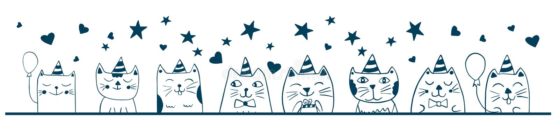 Bosquejo divertido lindo de los gatos Celebraci?n de la fiesta de cumplea?os Diseño animal del garabato ilustración del vector