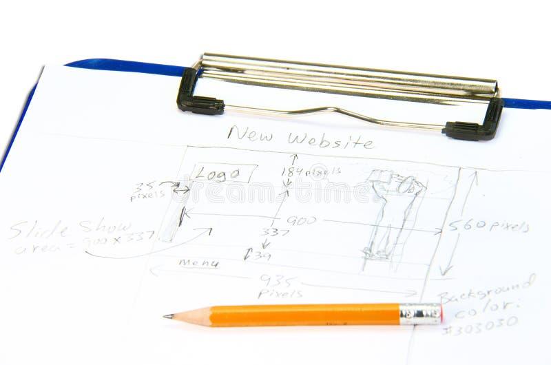 Bosquejo drenado mano del diseño del Web site para las hojas de operación (planning) imagen de archivo