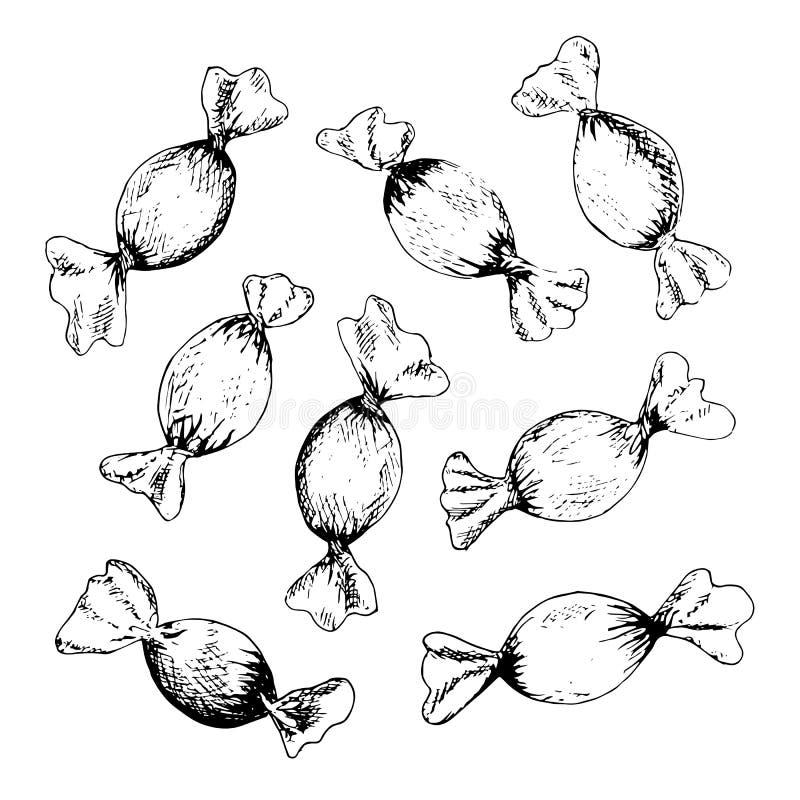 Bosquejo envuelto de la tinta del caramelo duro, palmas datileras ilustración del vector