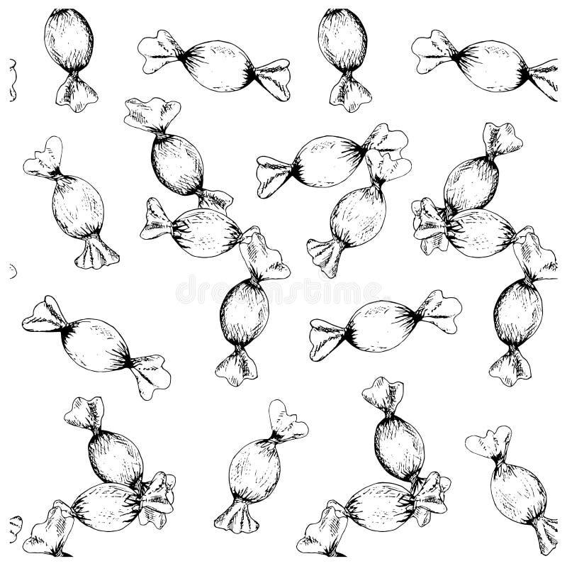 Bosquejo envuelto modelo inconsútil de la tinta del caramelo duro libre illustration