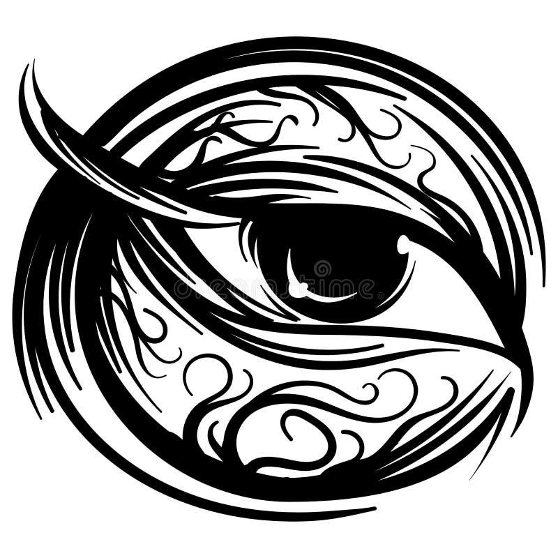 Bosquejo estilizado de la tinta del ojo humano del vector ilustración del vector