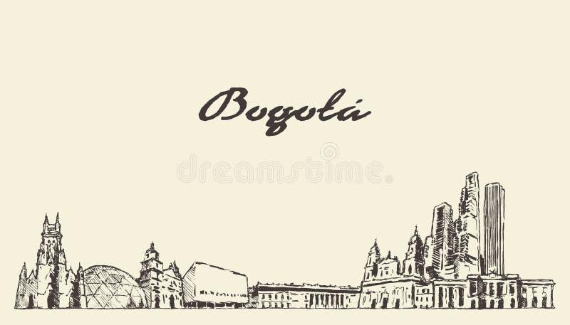 Bosquejo exhausto de la ciudad del vector de Colombia del horizonte de Bogotá stock de ilustración