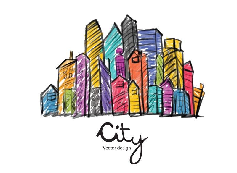 Bosquejo exhausto de la ciudad de la mano para su diseño en el fondo blanco, vector libre illustration