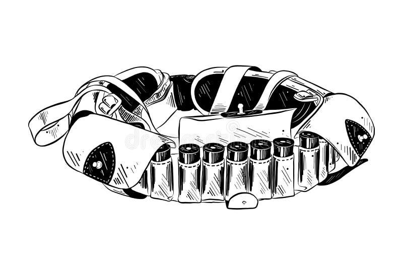 Bosquejo exhausto de la mano de la bandolera en negro aislada en el fondo blanco Dibujo detallado del estilo de la aguafuerte del stock de ilustración