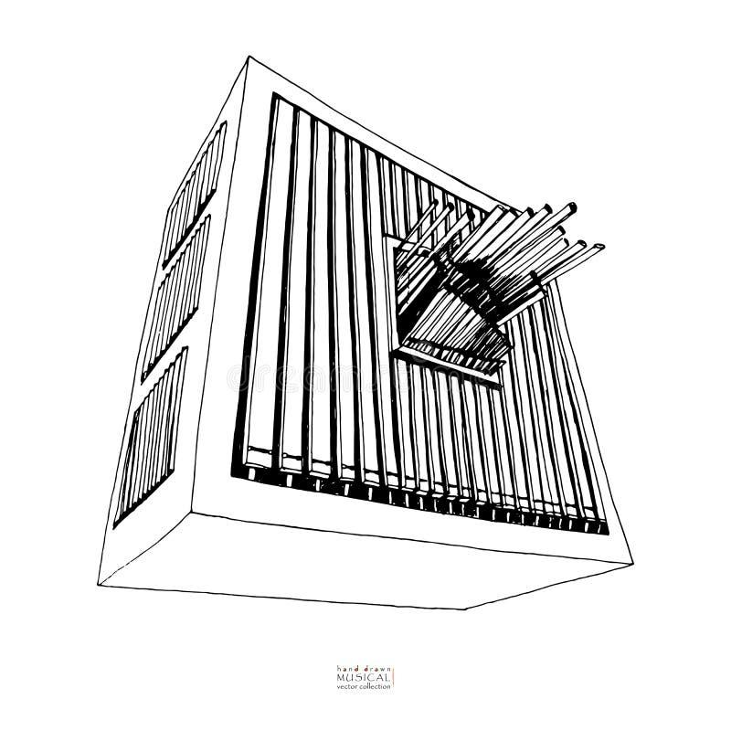 Bosquejo exhausto de la mano blanco y negro del órgano Instrumento musical grande con los tubos Vector libre illustration