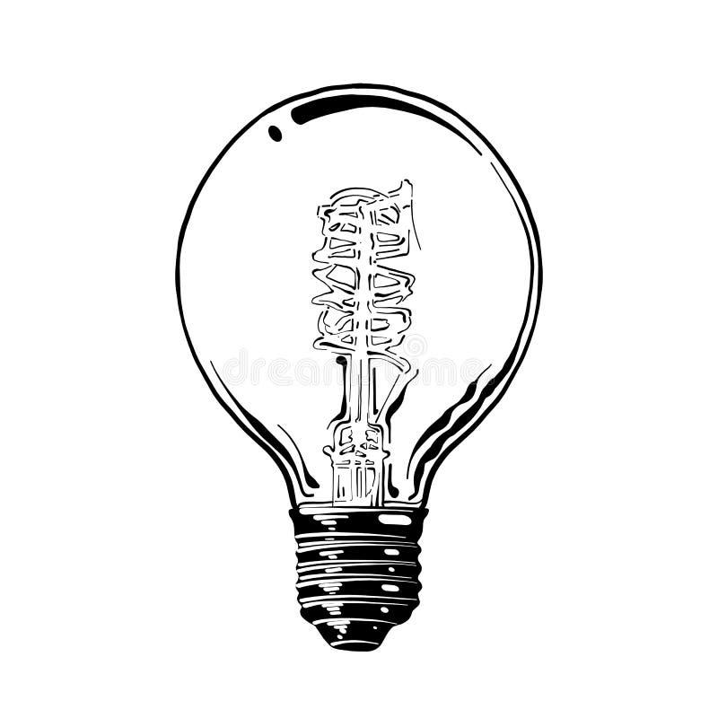 Bosquejo exhausto de la mano de la bombilla en negro aislada en el fondo blanco Dibujo detallado del estilo de la aguafuerte del  stock de ilustración