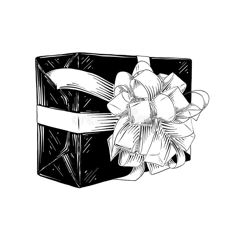 Bosquejo exhausto de la mano de la caja de regalo en negro aislada en el fondo blanco Dibujo detallado del estilo de la aguafuert stock de ilustración