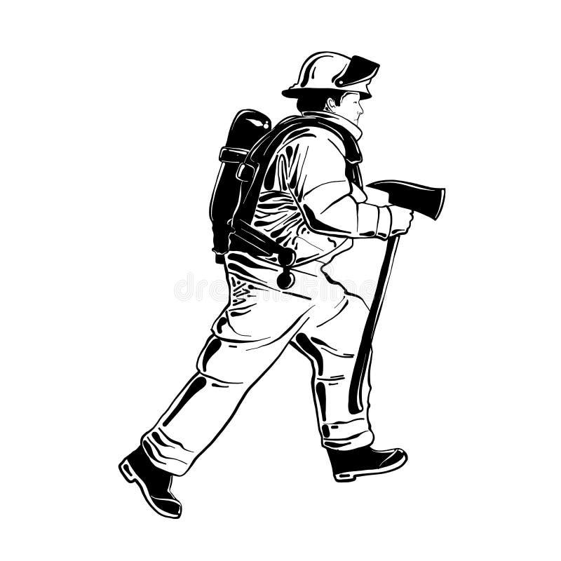 Bosquejo exhausto de la mano del bombero o del bombero en el uniforme aislado en el fondo blanco Dibujo detallado del estilo de l libre illustration