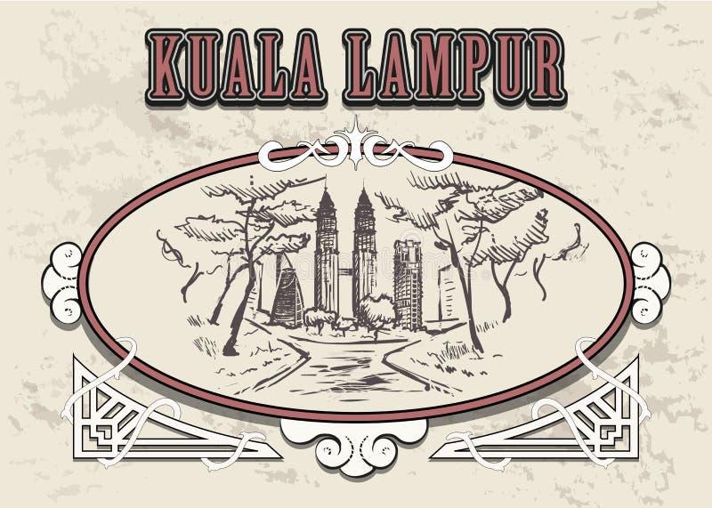 Bosquejo exhausto de la mano del horizonte de Kuala Lampur aislado en el fondo blanco stock de ilustración