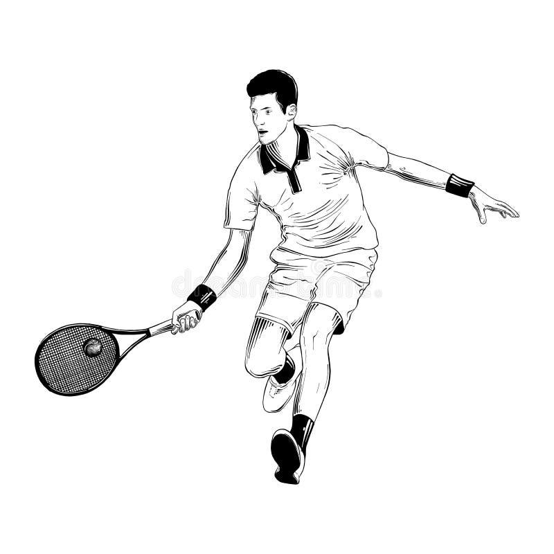 Bosquejo exhausto de la mano del jugador de tenis en negro aislado en el fondo blanco Dibujo detallado del estilo de la aguafuert libre illustration