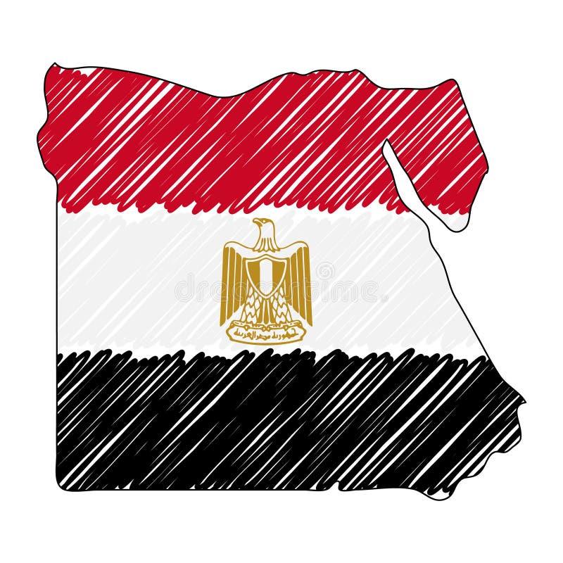 Bosquejo exhausto de la mano del mapa de Egipto Bandera del ejemplo del concepto del vector, el dibujo de los ni?os, mapa del gar ilustración del vector