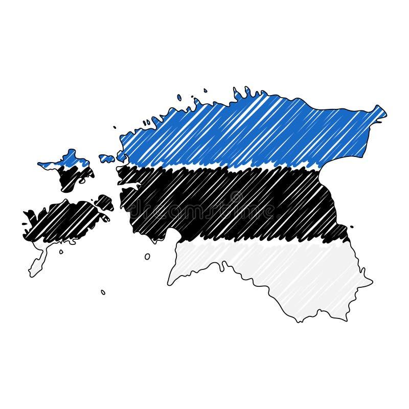 Bosquejo exhausto de la mano del mapa de Estonia Bandera del ejemplo del concepto del vector, el dibujo de los ni?os, mapa del ga stock de ilustración