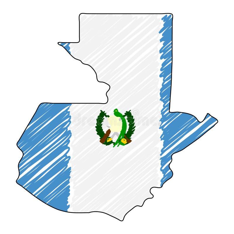 Bosquejo exhausto de la mano del mapa de Guatemala Bandera del ejemplo del concepto del vector, el dibujo de los ni?os, mapa del  libre illustration