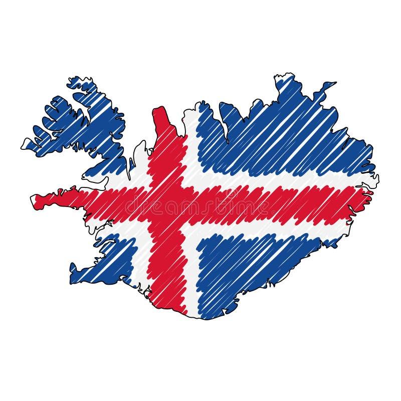 Bosquejo exhausto de la mano del mapa de Islandia Bandera del ejemplo del concepto del vector, el dibujo de los ni?os, mapa del g ilustración del vector