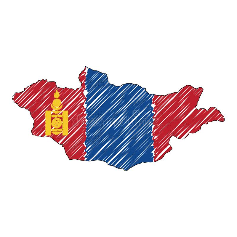 Bosquejo exhausto de la mano del mapa de Mongolia Bandera del ejemplo del concepto del vector, el dibujo de los ni?os, mapa del g ilustración del vector