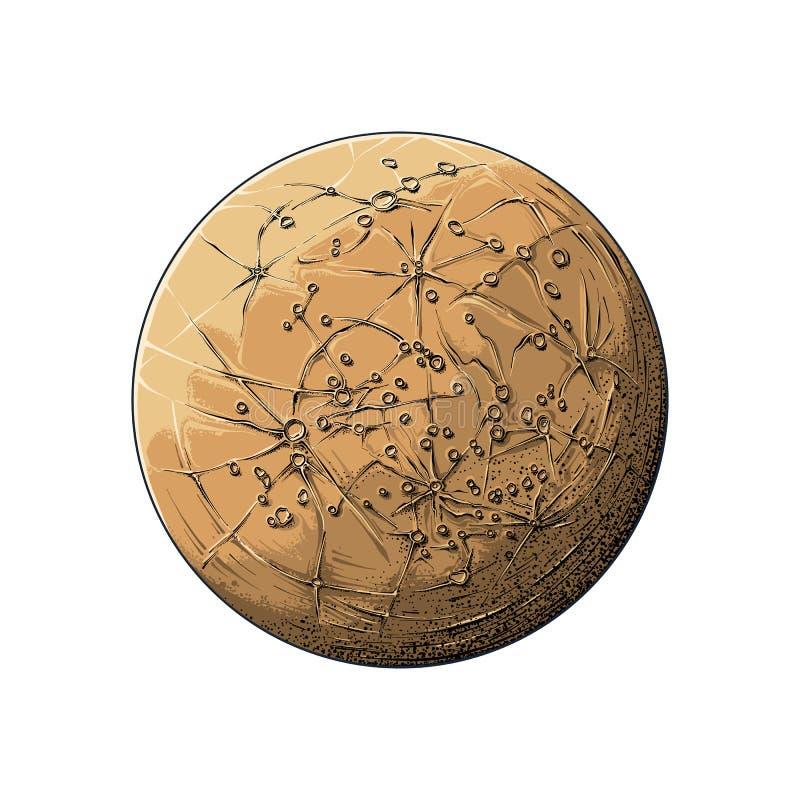Bosquejo exhausto de la mano del mercurio del planeta en color, aislado en el fondo blanco Dibujo detallado en el estilo del vint stock de ilustración