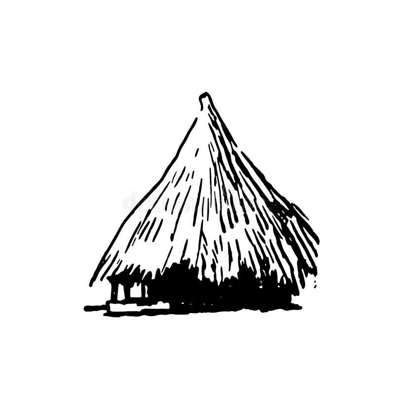 Bosquejo exhausto de la mano del negro africano de la casa del pueblo en el fondo blanco ilustración del vector