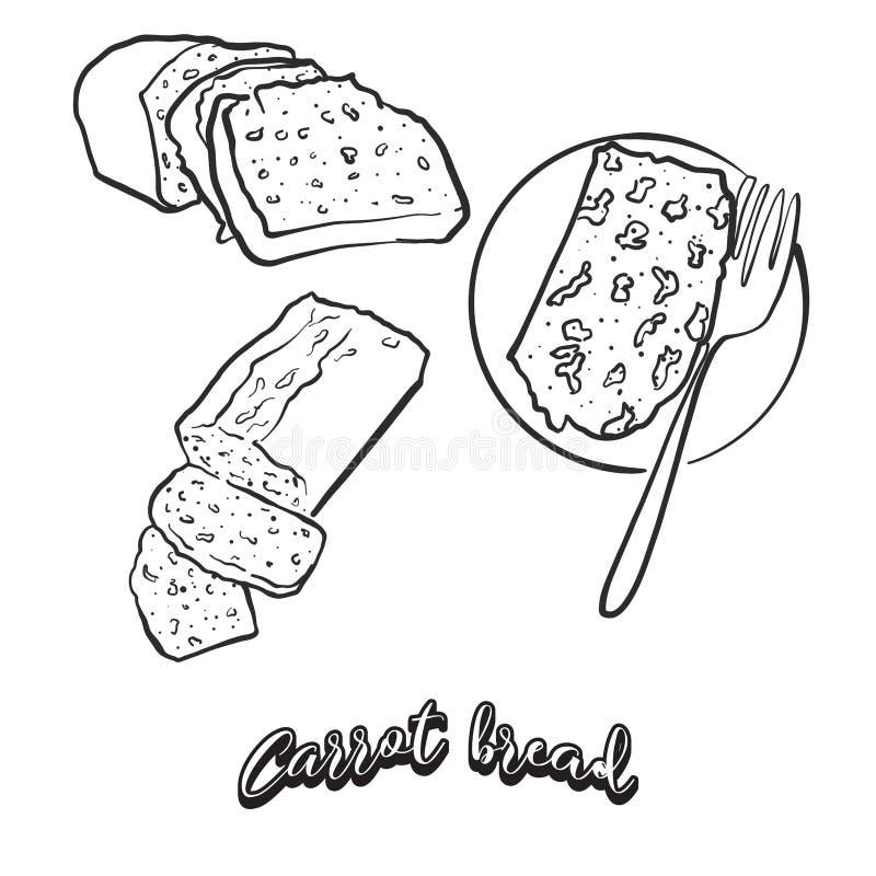 Bosquejo exhausto de la mano del pan del pan de la zanahoria libre illustration
