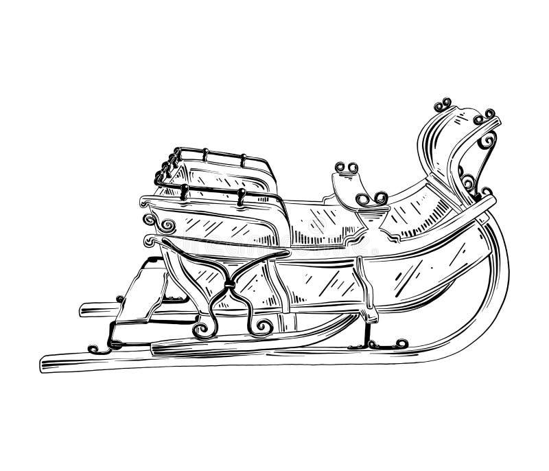 Bosquejo exhausto de la mano del trineo de la Navidad en negro aislado en el fondo blanco Dibujo detallado del estilo de la aguaf libre illustration