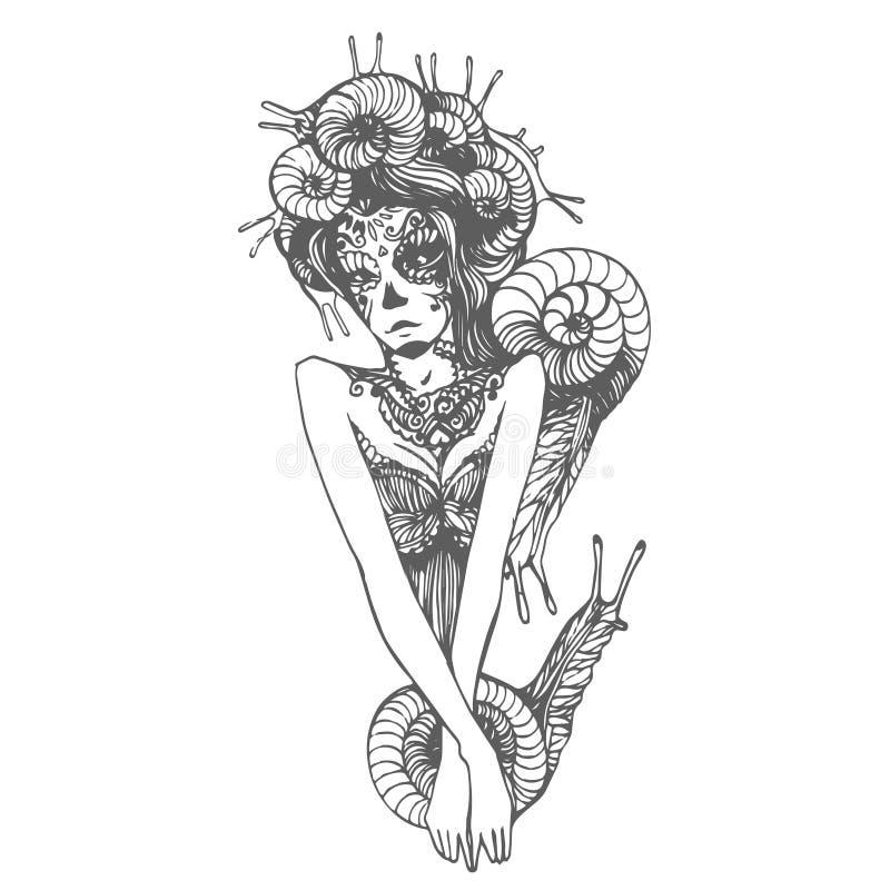 Bosquejo exhausto de la mano del vector del ejemplo del caracol de la mujer en el fondo blanco stock de ilustración