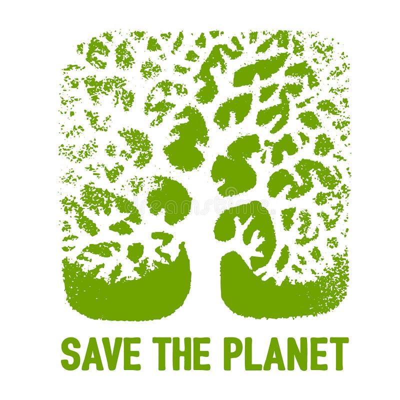 Bosquejo exhausto de la mano del vector del ejemplo del concepto del ahorro del árbol en el fondo blanco stock de ilustración
