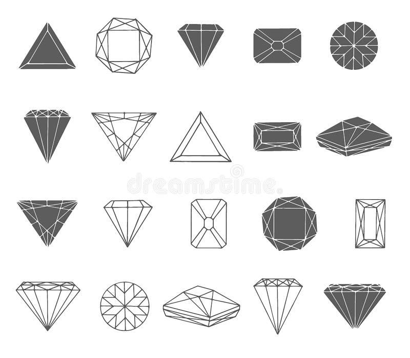 Bosquejo exhausto de la mano del vector del ejemplo del icono del diamante en el fondo blanco libre illustration