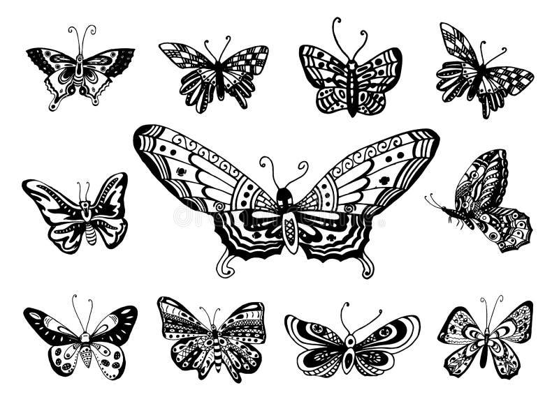 Bosquejo exhausto de la mano del vector del ejemplo de la mariposa en el fondo blanco ilustración del vector