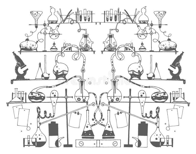 Bosquejo exhausto de la mano del vector del ejemplo de la química en el fondo blanco libre illustration