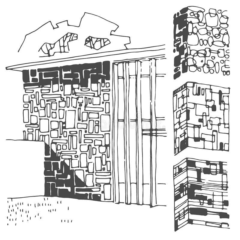 Bosquejo exhausto de la mano del vector del ejemplo de la textura de la pared en el fondo blanco ilustración del vector