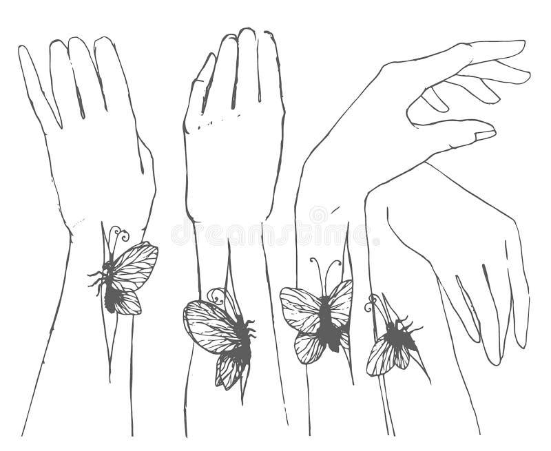 Bosquejo exhausto de la mano del vector de manos con el ejemplo de la mariposa libre illustration