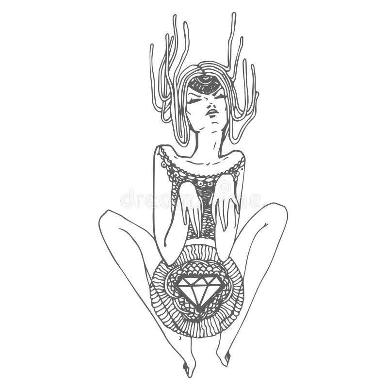 Bosquejo exhausto de la mano del vector de la muchacha de la impresión con el ejemplo del diamante en el fondo blanco stock de ilustración