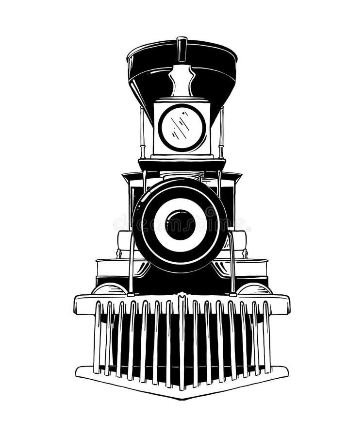 Bosquejo exhausto de la mano de la locomotora vieja en negro aislada en el fondo blanco Dibujo detallado del estilo de la aguafue ilustración del vector