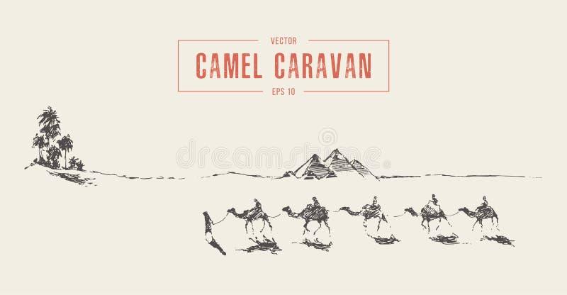 Bosquejo exhausto del vector del desierto del oasis de los camellos de la caravana libre illustration