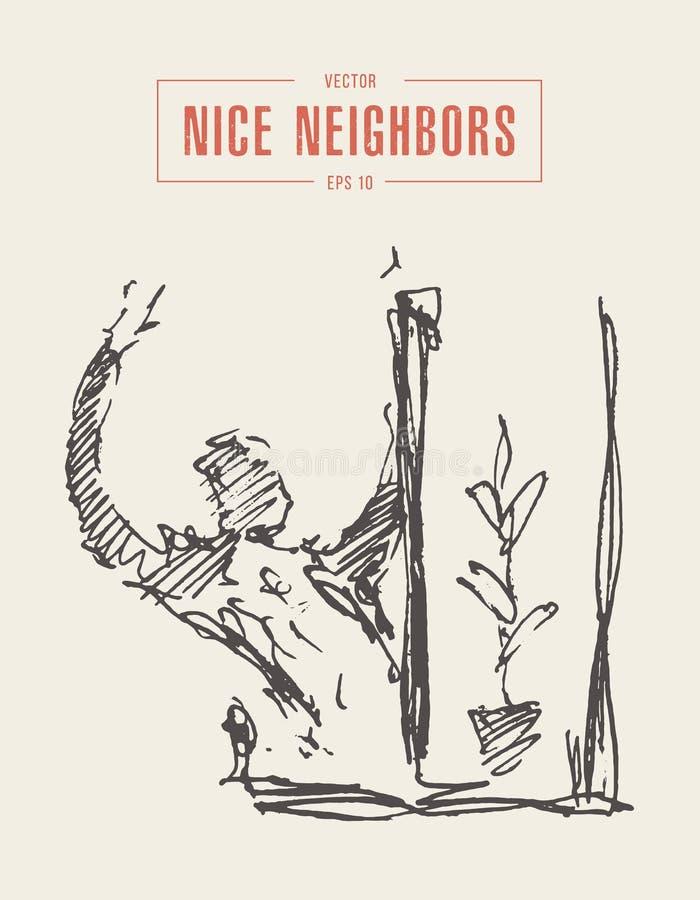 Bosquejo exhausto del vector del vecino de las ondas de la ventana del hombre libre illustration