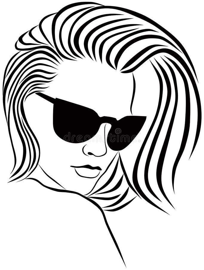 Bosquejo femenino de la cara ilustración del vector