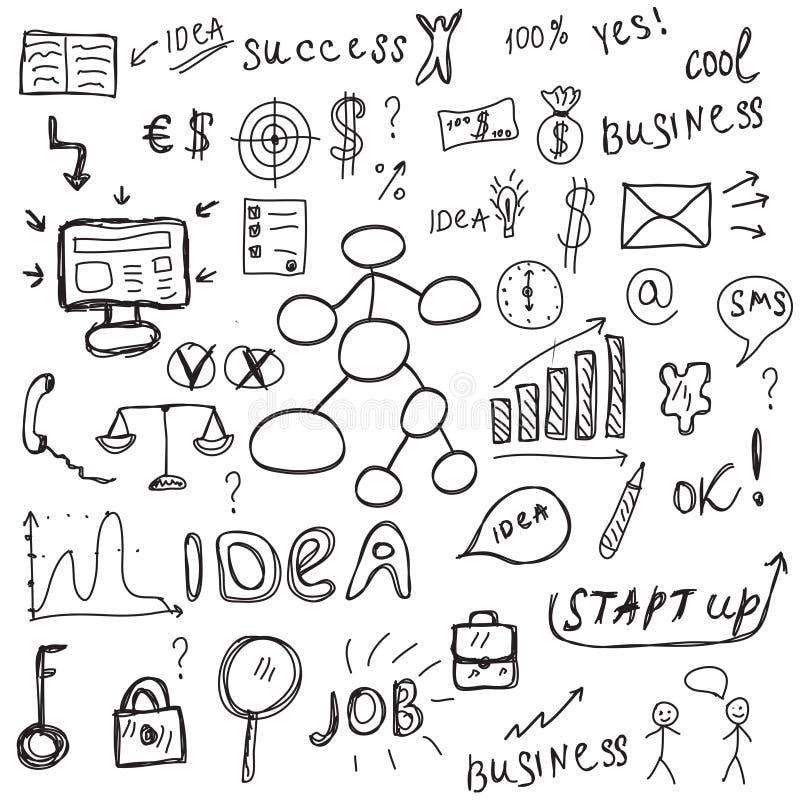 Bosquejo fijado iconos del negocio El negocio firma estilo del dibujo de la mano Ilustración del vector libre illustration