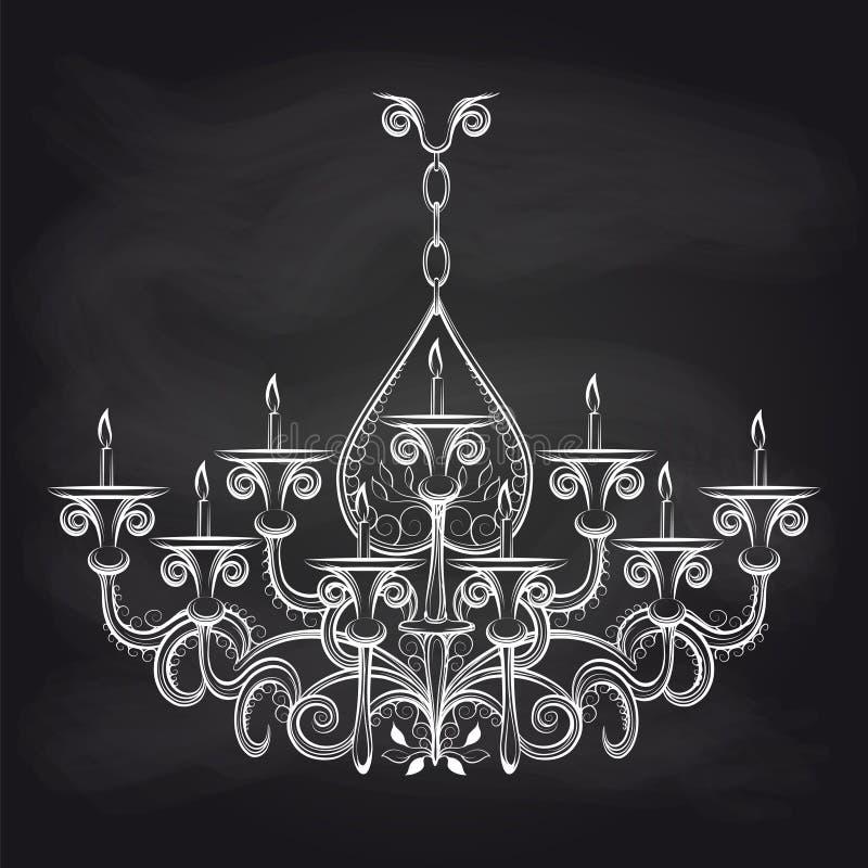 Bosquejo gótico antiguo de la lámpara en la pizarra stock de ilustración