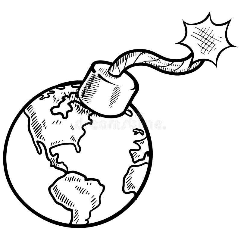 Bosquejo global de la bomba de relojería stock de ilustración